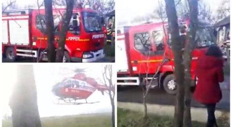 Incendiu la Chieșd: o persoană a fost surprinsă de flăcări și a avut nevoie de intervenția elicopterului SMURD