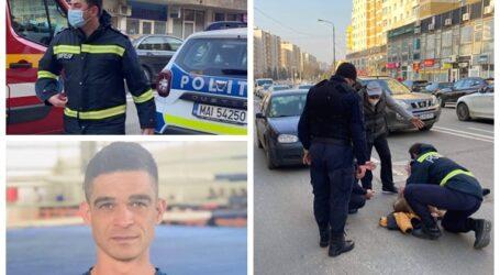 Un pompier din Șimleu Silvaniei aflat în timpul liber și un tânăr au sărit să o salveze pe femeia lovită de mașină în centrul Zalăului