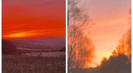 Fenomen spectaculos la început de primăvară în Sălaj. Cerul în flăcări la apus