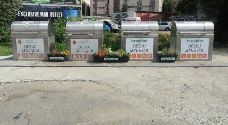 Idee inedită a celor de la Brantner Zalău- jardiniere cu flori lângă tomberoanele de gunoi