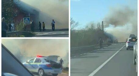 ULTIMA ORĂ – VIDEO. Incendiu de proporții la o farmacie din Românași, peste drum de benzinărie